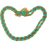 Vintage Trifari Necklace Faux Turquoise and Gold Necklace