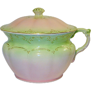 Antique Fielding Victorian Chamber Pot With Lid Pink Green England