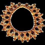Vintage Juliana Bib Necklace Topaz Gold Rhinestones