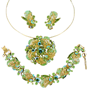 Vintage Juliana Green Matrix Bracelet Pin Pendant Earrings New Find