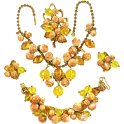 Vintage Juliana Necklace Bracelet Brooch Earrings Yellow Dangles Rhinestones Beads D&E Book Set