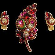 Vintage Juliana Heliotrope Brooch Earrings Pom Pom Rhinestone Book Set