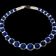 Vintage 1930s  Lapis Lazuli Crystal Necklace