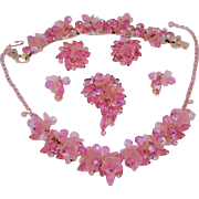 Vintage Juliana Pink Necklace Bracelet Brooch Earrings Dangling Frosted Petals Rhinestones Crystals