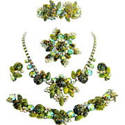 Vintage Juliana Necklace Bracelet Brooch Earrings Clamper Green Harlequin AB Rhinestone D&E Book Set