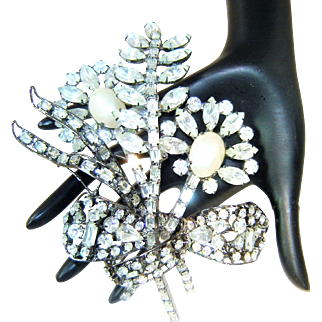 Huge Vrba Brooch Faux Pearl Rhinestone Flowers Bow