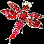 Vintage Vrba Dragonfly Brooch Massive Red Pink Rhinestone