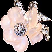 Vintage Vrba Pink Rose Brooch