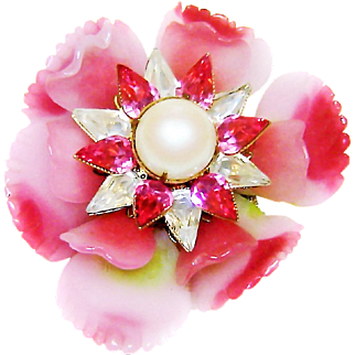 Vintage Vrba Ruffled Glass Flower Brooch Fx Pearls Rhinestones