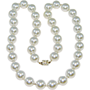 Vintage Glass Pearl Necklace Rhinestone Clasp