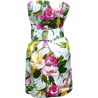 Vintage Oscar de la Renta Dress Floral Silk Satin
