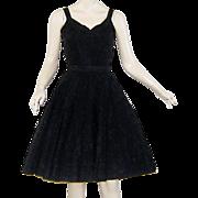 Vintage 1950s Party Dress Black Embroidered Taffeta Perlberg
