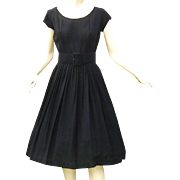 Vintage 1950s Black Dress Full Skirt Wide Belt