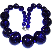 Vintage Blue Lucite Necklace Marbled Navy Beads