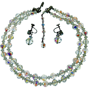 Vintage Crystal Necklace Earring Set Aurora Rhinestone