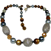 Vintage DeMario Necklace Art Glass Bead Crystal Fx Pearl Rhinestone