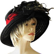 Vintage Mary's Millinery Hat Black Red