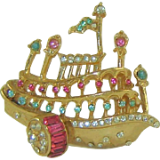 Vintage Coro Steamboat Brooch Rhinestones Patent