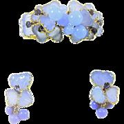 Vintage Julio Marner Mayorka Petals Beads Clamper Bracelet Earrings