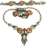 Coro Quivering Camellia Enamel Necklace Bracelet Duette 1938