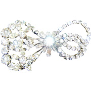 Vintage Retro Bow Brooch Diamante Rhinestones