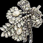 Huge Vrba Brooch Faux Pearl Rhinestone Flowers Bow