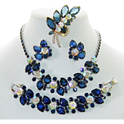 Vintage Juliana Necklace Bracelet Brooch Earrings Blue Rhinestone Pears AB Book Set