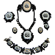 Vintage Juliana Hematite Rose Cameo Necklace Clamper 2 Brooches Bracelet Earrings Book Set