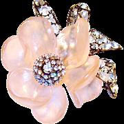 Huge Vintage Vrba Brooch Pink Flower Diamante Rhinestones