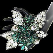 Huge Vintage Vrba Flower Brooch Rhinestone Crystal Gripoix Style Glass