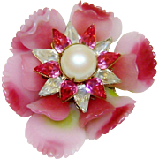 Early Vrba Brooch Ruffled Glass Flower Fx Pearls Rhinestones