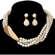 Vintage Gay Boyer White Necklace Glass Bead and Chip Plus Earrings
