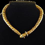Vintage 1940s Sterling Vermeil Snake Necklace Valfran Brody Designs