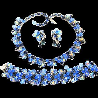 Vintage Kramer Necklace Bracelet Earrings Blue Rhinestone Crystal Dangles Set