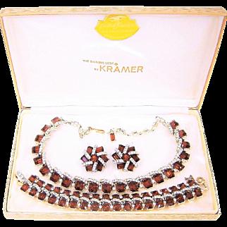 Vintage Kramer Topaz Rhinestones Necklace Bracelet Earrings Box