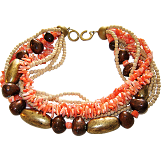 Vintage Les Bernard Necklace Faux Coral, Wood Beads Multi Strand