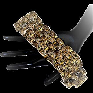 Vintage 1940s Damascene Bracelet Arabesque Wide