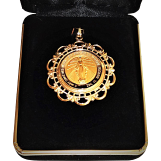 Vintage 14K Miraculous Medal Pendant Yellow Gold Charm Large