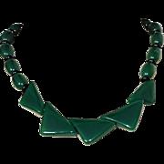 Vintage Green Black Lucite Necklace Geometrics Beads Book Piece