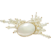 Vintage 14K Pearl and MOP Brooch Atomic Swag