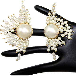 Vintage 14K Cultured Pearl and Mabe Pearl Earrings Atomic Fan Design