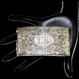 Art Nouveau Sterling Card Case Engraved Curved
