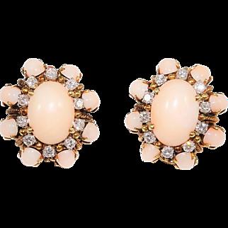 Vintage 14K Diamond Angel Skin Coral Earrings Signed