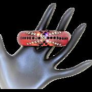 Vintage Thermoplastic Rhinestone Clamper Translucent Lucite Bracelet