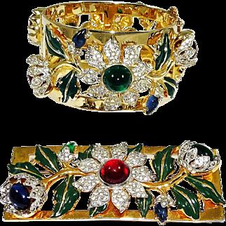 Coro Craft Carmen Miranda Bangle Bracelet Brooch Corocraft Camellia Book Set