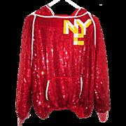 Vintage St Martin NYC Red Sequin Hoodie Designer Sweatshirt