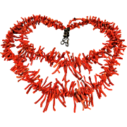 Vintage Branch Coral Necklace Double Strand Salmon Red Bib