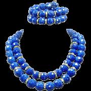 Vintage Blue Marbled Lucite 2 Necklace Bracelet Set Rhinestones