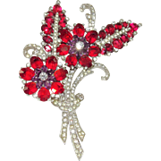 Vintage 1940s Mazer Brooch Red Pink Purple Rhinestone Flowers Leaves