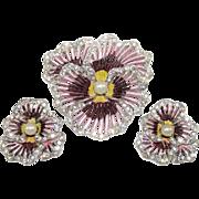 Vintage Boucher Metallic Enamel Pansy Brooch Earrings Set